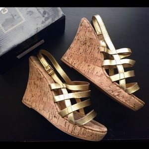 Gold Leather Colin Stewart Wedges